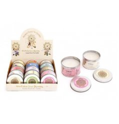 A mix of colourful candle tins each set with its own sweetly fragranced wax filling