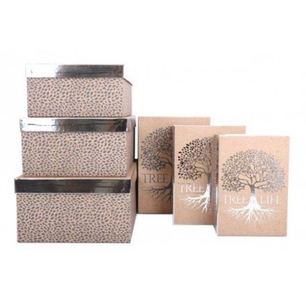 Set of 6 Silver Tree Gift Boxes