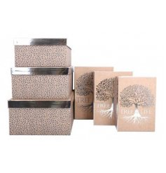 A large set of assorted sized gift boxes each decorated with a beautiful Silver Tree of Life print