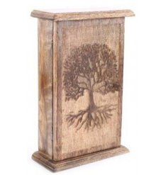 A gorgeously carved wooden key box with an added embossed Tree of Life decal