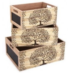 A set of 3 assorted sized wooden crates, each decorated with a beautiful Tree of Life decal