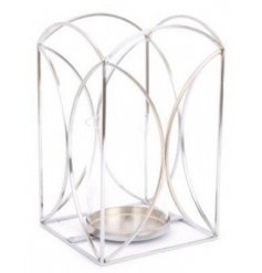 A simple yet stylish metal wire candle lantern in a silver tone