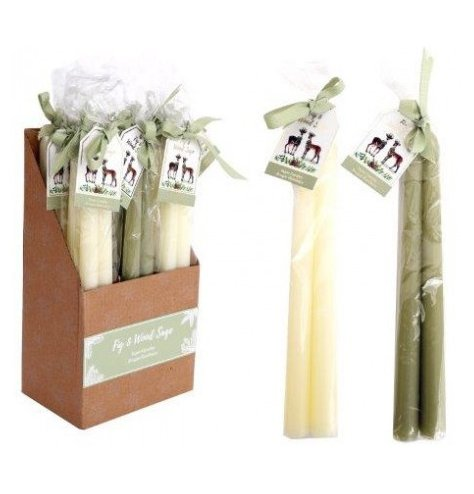 A charming set of two tapered candle sticks in sweet scents of fig and wood sage.