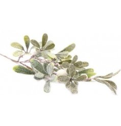 A must have accessory in any home at Christmas, an artificial Mistletoe Branch with a flurry of glittery snow