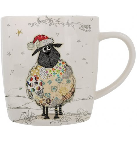 Festive themed sheep from the renowned Bug Art presented on a china mug with matching gift box.