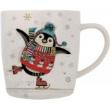 Festive themed penguin from the renowned Bug Art presented on a china mug with matching gift box.