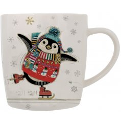 A sleek and simple fine china mug decorated with an adorable festive penguin print