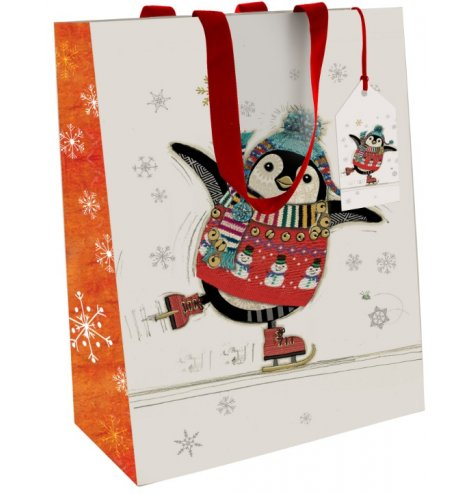 Festive themed penguin gift bag from the renowned Bug Art range of products.