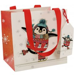 A festive themed penguin decal printed onto a high quality gift bag