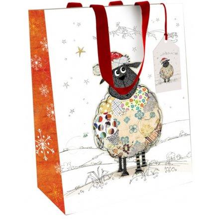 Bug Art Sheep Festive Gift Bag, Medium
