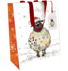 A festive themed woollen sheep decal printed onto a high quality gift bag
