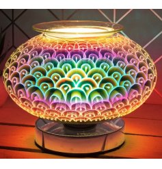 A stunning and unique curved glass lamp with oil burner/wax melt feature with dish,