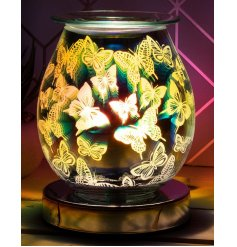 Illuminate your home with a gorgeous 3D Butterfly light effect from this LED Glass Lamp and Oil Burner