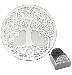 A gorgeous round Mirror Candle Plate featuring a beautiful Silver Tree decal