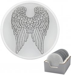 A gorgeous round Mirror Candle Plate featuring a glittery angel wing decal
