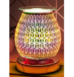 Illuminate your home with a gorgeous 3D Rhombus light effect from this LED Glass Lamp and Oil Burner