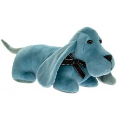 Complete with long floppy ears, this blue velveteen dog doorstop will be sure to place perfectly in any home