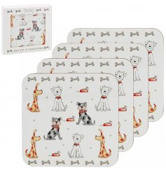 A set of 4 cork back coasters decorated with the popular Faithful Friends Dog Decal