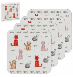 A set of 4 cork back coasters decorated with the popular Faithful Friends Cat Decal
