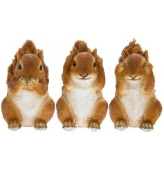 Sure to add a delightful charm to any garden space, this mix of cutely posed squirrels