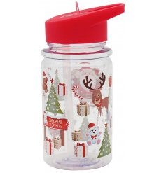 A fun Christmas themed reusable drink bottle. BPA free.