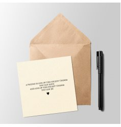 A beautifully sweet and sentimental greetings card with a bold text and small heart decal