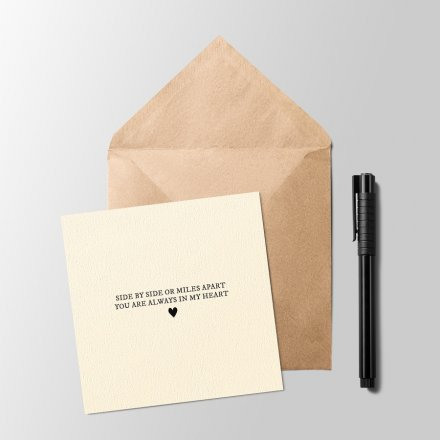 A sentimental and sweet inspired text printed onto a plain white card