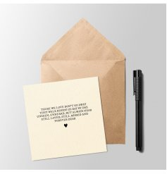 A sweetly sentiment inspired greetings card with a simplistic block text and heart decal to finish