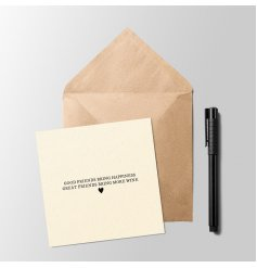 A sweetly scripted greetings card with a basic print text decal and small heart finish