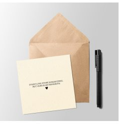 A sleek and simple greetings card with a sweetly sentimental inspired text decal