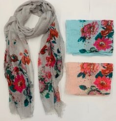 A delightful assortment of soft fabric scarves each decorated with a coloured floral bloom inspired print