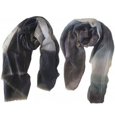 An assortment of ombre toned scarves, each decorated with an added silver string decal