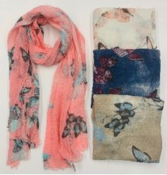 An assortment of soft fabric scarves with added colourful butterfly prints on each