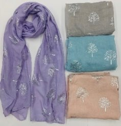 An assortment of soft fabric scarves with added Silver Tree of Life prints on each