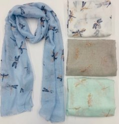 An assortment of soft fabric scarves with added Dragon Fly decals on each