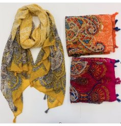 Sure to add a quirky touch to any outfit, a bold and colourful assortment of fabric scarves each with a coloured mandal