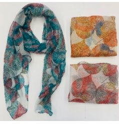 An assortment of dotted Lead print scarves in autumnal colours
