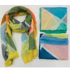 Bright and colourful accessories to wear with any outfit, an assortment of 3 geometric shaped scarves with bold colours