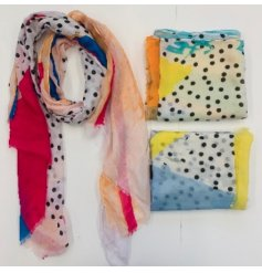 A Bold and colourful fabric scarf with an array of colours and patterns to each design