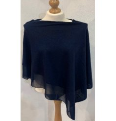 A One Sized Poncho in a deep navy chiffon material