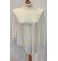 A One Sized Poncho in a cream chiffon material