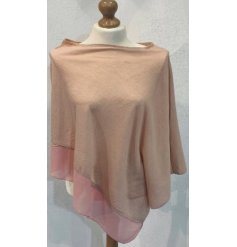 A One Sized Poncho in a soft blush pink chiffon material