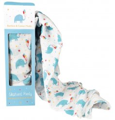 A super soft Bamboo and Cotton based swaddling blanket perfectly decorated with a cute Elephant Party print