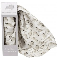 A super soft Bamboo and Cotton based swaddling blanket perfectly decorated with a cute kitty cat print