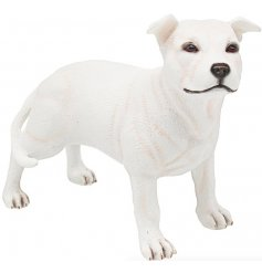 A pure white Staffy Dog Figure complete with a sleek matching gift box