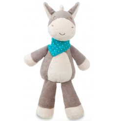 Snuggle up and play with this loveable Dippity Donkey soft toy, complete with bandana. Ideal for keeping little ones ent