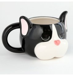 Decorated with a French Bulldog Head Form, this Ceramic Mug is perfect for gift giving to any Frenchie lover!