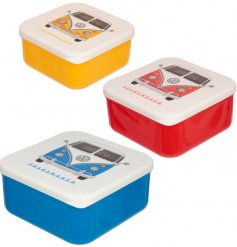 An assorted sized set of 3 lunch boxes each decorated with its own colour and matching VW camper decal