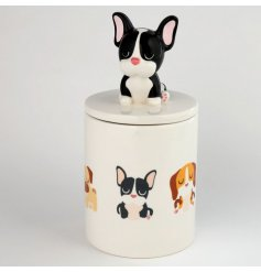 Perfect for keeping tasty treats for yourself or pets! A ceramic Jar with a Dog Squad decal and Frenchie Handle