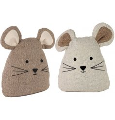 A cute assortment of Brown and White fabric Mouse Doorstops